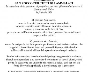 14 Febbraio 2021  -  Preghiera a S. Rocco per tutti gli Ammalati